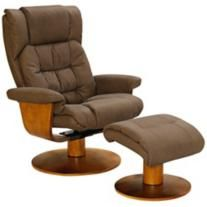 Oslo Chocolate Bonded Leather Recliner and Ottoman