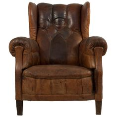 Sweden. Brown leather wingback chair. ca1890.  This looks comfortable.