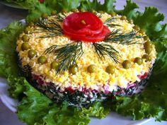 7 Layer Salad -   Ingredients: mushrooms,chicken,salt,cheese, tomatoes