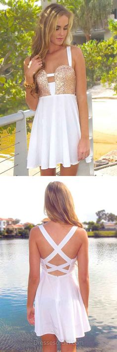 Open Back Prom Dresses, White Formal Dresses, Chiffon Evening Dresses, Sequined Homecoming Dresses, Sexy Graduation Dresses