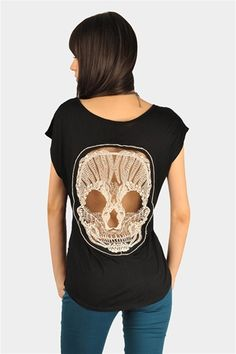 @rachel selina thought of you and your love of mexican/day of the dead skulls when I saw this....  Skull Back Top - Black 20% off at necessary Clothing