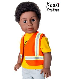 Got a Boy Doll? Dress him up as a rough 'n tumble construction worker with this creative sewing and craft pattern from Pixie Faire! Use a sheet of craft foam to make a hard hat for your doll! #18inchdollclothes