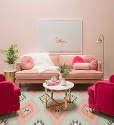 Pinky living room thoughts can be very pleasant to have. Lamentably, to produce the correct pink living room decor thoughts isn't something simple. You can't just place those pink-color… Living Room Designs, Living Room Decor, Bedroom Decor, Rosa Sofa, Pastel Living Room, Deco Rose, Pink Room, Fashion Room, House Colors