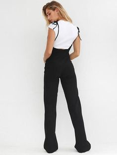 Black High Waist Wide Leg Pants Casual Lace Up Overalls Women Pant 2019 Summer Fashion Flare Trousers - Black XL Overalls Women, Glamour, Jumpsuit With Sleeves, Black Romper, Clubwear, Pants For Women, Clothes, High Waist, Jumpsuits