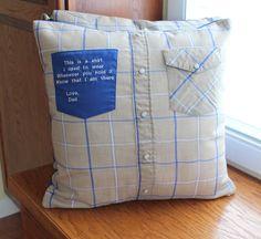 memory pillow cases Diy Pillows, Shirt Pillows, Old Shirts, Dad To Be Shirts, Sewing Hacks, Sewing Crafts, Sewing Projects, Sewing Ideas, Memory Pillows