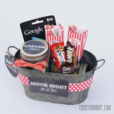 Gift basket idea: A movie night in a tin! Includes free printable tags and labels.
