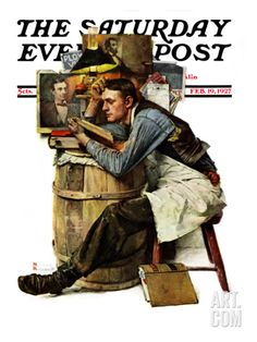 Law Student Saturday Evening Post Cover, February Giclee Print by Norman Rockwell Norman Rockwell Art, Norman Rockwell Paintings, Caricatures, Dead Rising Watchtower, Meghan Ory, Painting Prints, Canvas Prints, Canvas Art, Art Prints