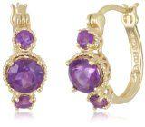 """#goldearrings - 18k Gold Plated Sterling Silver African Amethyst Hoop Earrings (0.7"""" Diameter) - http://pinfollow.me/categories/jewelry/gold-earrings/18k-gold-plated-sterling-silver-african-amethyst-hoop-earrings-0-7-diameter/"""