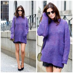 Love this shade of purple and the sweater itself. She has great legs to make the look work. However I'd wear it with pants. Hedvig 10.09.2012-1