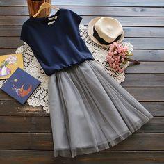 Organza Mesh patchwork Fake two Elastic waist was thin o-neck Sleeveless dress mori girl summer dress