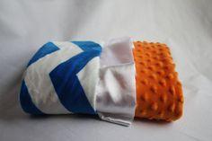 Blue and White Chevron with Orange Minky Dot on Reverse -  Baby Minky Blanket - Gators - Florida on Etsy, $65.00
