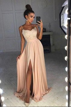 Simple Spaghetti Straps Lace Top Side Split Long A Line Prom Dresses OKA7
