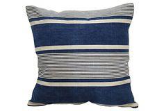 Blue French Ticking Pillow on OneKingsLane.com