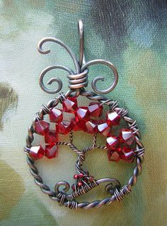 Red Swarovski Crystals Tree of Life Wire by RachaelsWireGarden, $45.00