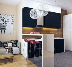 cocina pequeña con panel de madera y armarios negros