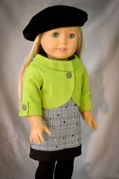 Lime green cropped jacket by AnnasGirls on Etsy. Made using the LJC Penny Lane Jacket pattern. Get it here http://www.pixiefaire.com/products/penny-lane-jacket-18-doll-clothes.  #pixiefaire #libertyjane #pennylanejacket
