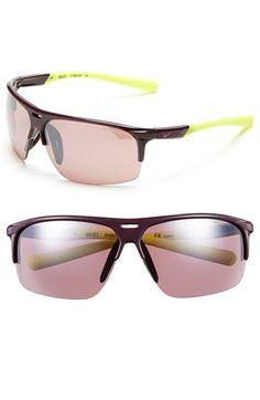 Women's Nike 'Run X2' 69mm Sunglasses - Deep Burgundy/ Volt