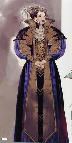 "Concept art of Padme Amidala in Senate Gown from ""Star Wars Episode II: Attack of the Clones"" (2002). The art department provided specific Elizabethan details to invoke a sense of historicity in Padme's culture."