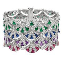 Magnificent Inspirations sapphire, emerald and diamond cuff | Bulgari