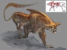EOE: Terrik (Flyer) by beastofoblivion on DeviantArt - SaberHammer by beastofoblivion Monster Concept Art, Alien Concept Art, Creature Concept Art, Fantasy Monster, Monster Art, Creature Design, Mythical Creatures Art, Alien Creatures, Magical Creatures