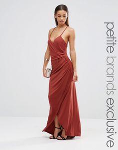 9c88bc9583 Image 1 of John Zack Petite Cross Back Cami Maxi Dress With Ruching Prom  Dresses,