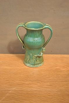 Vintage Irish Pottery Vase. Handmade Ballina Pottery Aqua Green Upright Vase. by GoldenGully on Etsy