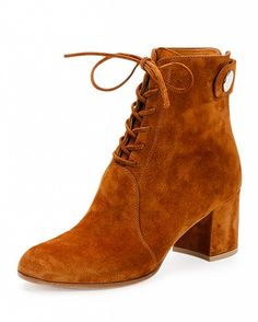 Gianvito Rossi Suede Lace-Up Ankle Boot in Luggage