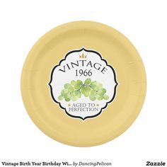 Vintage Birth Year Birthday Wine Label Paper Plate - Create a personalized party plate with the birth year of your honoree by replacing the sample year shown with your honoree's birth year. Sold at DancingPelican on Zazzle. #birthdayparty