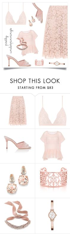 """The Prettiest Underpinnings"" by alinepinkskirt ❤ liked on Polyvore featuring Valentino, La Perla, Manolo Blahnik, Velvet, BillyTheTree, Fallon and DKNY"