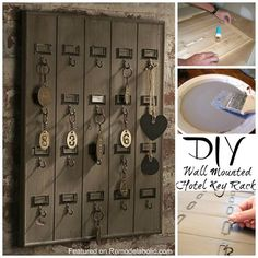 DIY:  How to Build this Wall Mounted Wooden Hotel Key Rack - easy project that would be perfect in the garage - via Remodelaholic