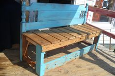 Shabby Bench 5' . Stained and dry brushed turquoise with Polyurethane.