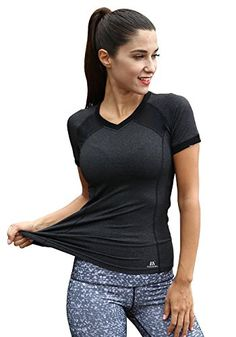 womens short sleeve workout tee yoga running biking sports t-shirt fast dry (large, grey) Short Workouts, Gym Clothes Women, Cycling Workout, Gym Shirts, Yoga Tops, Active Wear For Women, Sport T Shirt, Sport Bikes, Workout Tops