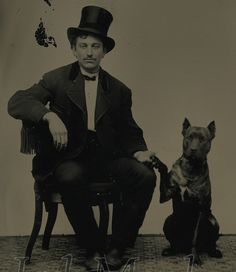 1800s photo Man with his Dog.