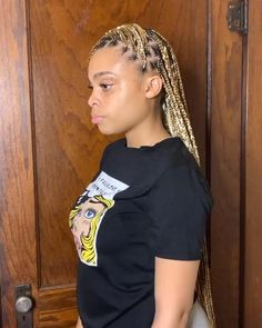 Feed In Braids Hairstyles, Box Braids Hairstyles For Black Women, Braids Hairstyles Pictures, Baddie Hairstyles, Braids For Black Women, Protective Hairstyles, Protective Styles, Black Box Braids, Blonde Box Braids