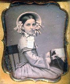 Sweet Victorian bonnet girl.