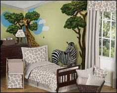 Taupe and Off-White Giraffe bedding. The soft color palette blends taupe and off-white and will set your room up in high style. When we were children, we all dreamed of Africa and all of those unique and wonderful animals. Bring those dreams to life with Beetling's Safari Series. A Mother and Baby Giraffe majestically standing in the shade of a tree, a stunning zebra watches quietly, and two friendly monkeys look back from the side of a mirror.