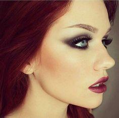 Cherry Red Hair . Grunge Makeup