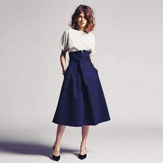 2018 Vintage Mid-Calf Length Skirts For Women With Pockets Sash Bow Elegant Skirt Custom Made Any Color High Waist Saia