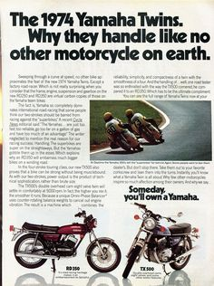 1974 Yamaha RD350 TX500 Motorcycle Advertisement Hot Rod December 1973 | by SenseiAlan
