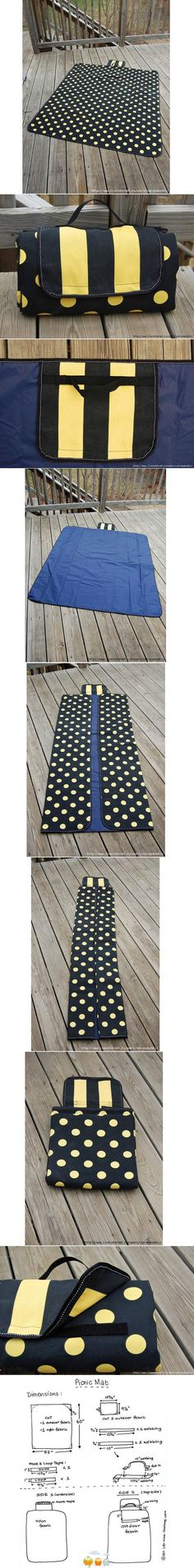 How to make Picnic Mat step by step DIY tutorial instructions Sewing Hacks, Sewing Tutorials, Sewing Crafts, Sewing Projects, Diy Projects, Free Tutorials, Picnic Quilt, Picnic Mat, Picnic Blanket