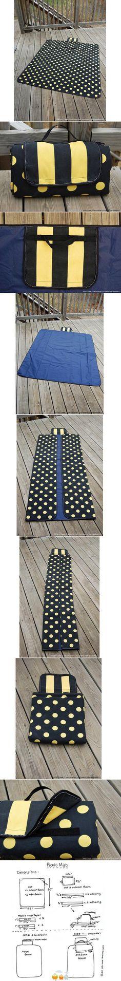 fachada bolso, pero es una alfombra para picnic, el mismo tutorial puede aplicarse para ser usado para la playa.