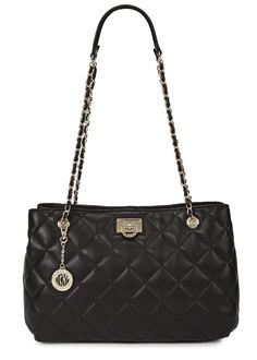 DKNY black leather shoulder bag Quilted, adjustable chain shoulder straps, designer plaque, feet at base, gold tone hardware, two internal compartments, two zip fastening pockets, two patch pockets, printed lining Zip fastening at top Comes with a dust bag