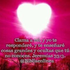 Clama a mí, y yo te responderé, y te enseñaré cosas grandes y ocultas que tú no conoces. Jeremías 33:3.