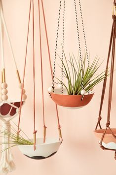 Diy Hanging, Hanging Planters, Air Plant Display, Plant Holders, Ceramic Pottery, Plant Hanger, Decoration, Diy Home Decor, Diy Projects