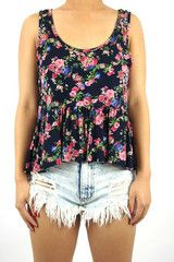 Flower Print Ruffle Bottom Top | Fashion Q 1982