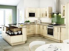 Kitchen Color Schemes Awesome Kitchen Design Ideas With White and Grey Wall Cream Cabinet Oven Table Stove Wastafel Glass Door Tile Floor