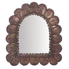 Punched Tin Arched Petal Mirror