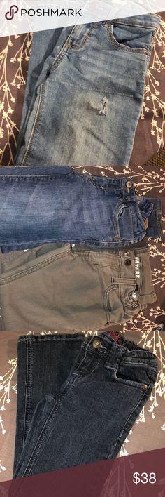 NEW Girls Wonder Nation Beige Moon Khaki Adjustable Waist Bootcut Jeans Size 6