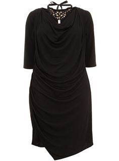 Collection Black Asymmetric Jersey Dress with Necklace - Apple  - Clothing