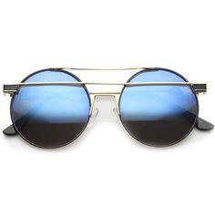 Modern Metal Frame Double Bridge Colored Mirror Lens Round Sunglasses 59mm